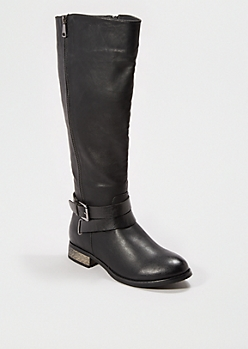 Black Strappy Knee High Boot By Qupid®