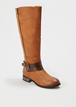 Tan Strappy Knee High Boot By Qupid®