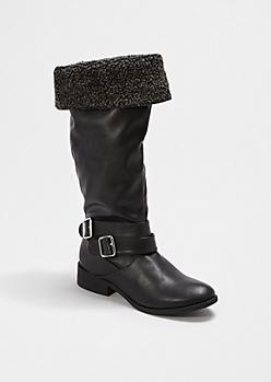 Black Cuffed Faux Fur Boot By Qupid®