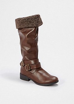 Brown Cuffed Faux Fur Boot By Qupid®