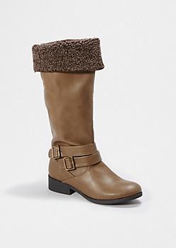Cognac Cuffed Faux Fur Boot By Qupid®