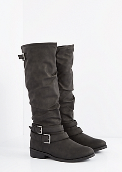 Black Buckled Slouchy Knee High Boot