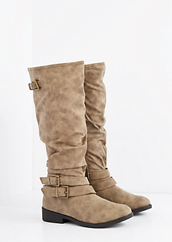 Taupe Buckled Slouchy Knee High Boot