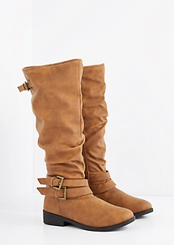 Camel Buckled Slouchy Knee High Boot