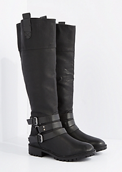 Black O-Ring Buckled Moto Boot by Qupid