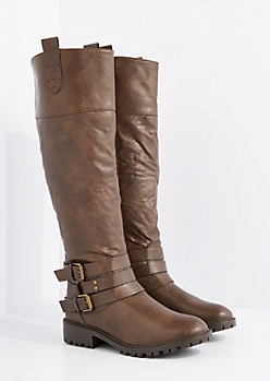 Brown O-Ring Buckled Moto Boot by Qupid
