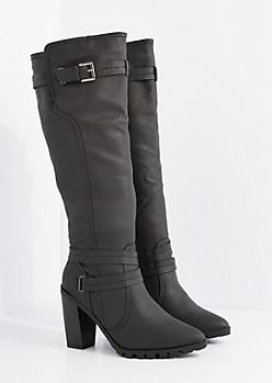 Black Pointed Toe Heel Knee High By Qupid