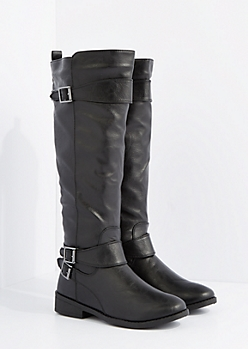 Black Knee High Riding Boot By Qupid