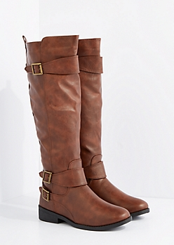 Cognac Knee High Riding Boot By Qupid