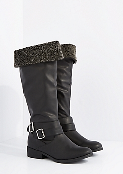 Black Mock Sherpa Lined Knee Boot by Qupid