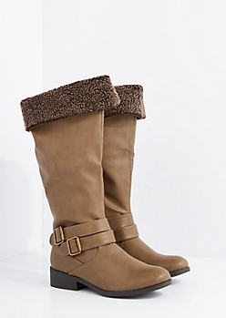 Taupe Mock Sherpa Lined Knee Boot by Qupid