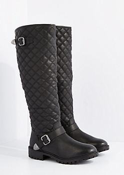 Black Quilted Knee High Boot By Qupid