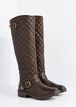 Brown Quilted Knee High Boot By Qupid