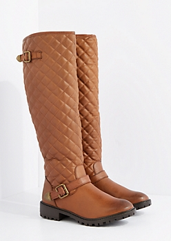 Cognac Quilted Knee High Boot By Qupid