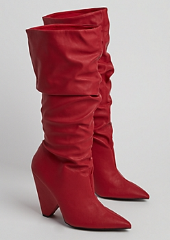 Red Cone Heel Scrunched Knee Boot By Qupid