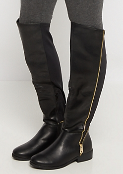 Side Zipped Vegan Leather Riding Boot