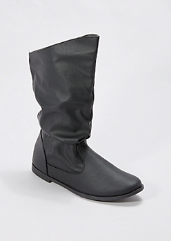Black Scrunched Faux Leather Boot