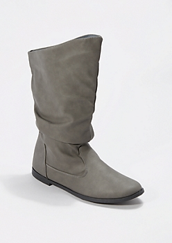 Gray Scrunched Faux Leather Boot
