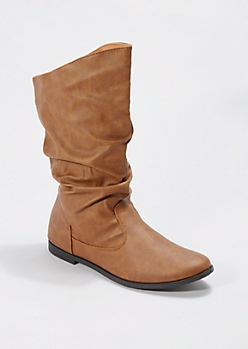 Cognac Scrunched Faux Leather Boot