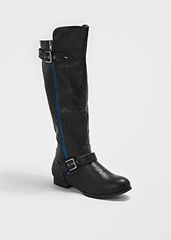 Black Side Buckled Knee-High Boot by Wild Diva®