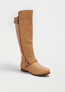 Camel Side Buckled Knee-High Boot by Wild Diva®