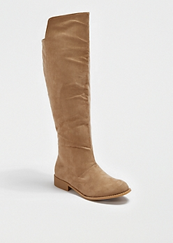 Taupe Microgore Knee-High Boot By Wild Diva®