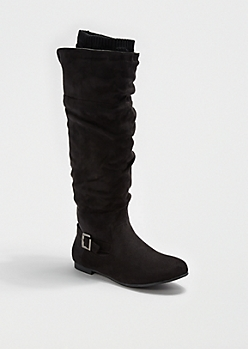 Black Sweater Lined Faux Suede Boot by Wild Diva®