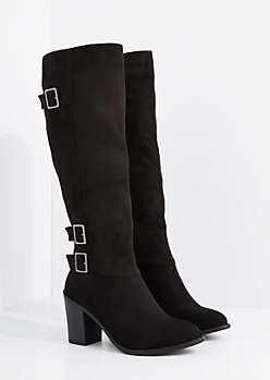 Black Mock Suede Buckle Knee High Boot By Wild Diva
