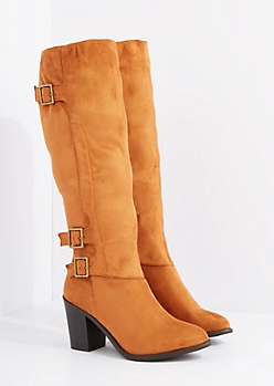 Cognac Mock Suede Buckle Knee High Boot By Wild Diva