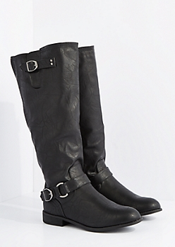 Black Mock Leather Zipper Riding Boots By Wild Diva