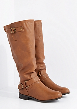 Brown Mock Leather Zipper Riding Boots By Wild Diva