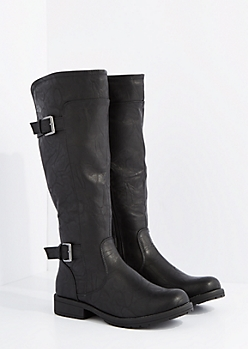 Black Washed Double Buckle Riding Boots By Wild Diva