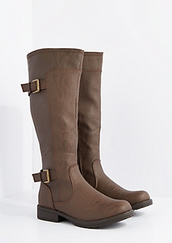 Brown Washed Double Buckle Riding Boots By Wild Diva