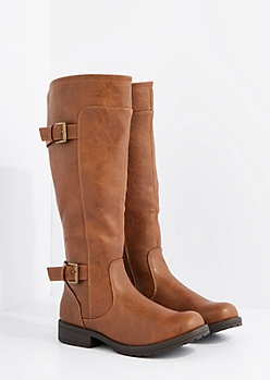 Cognac Washed Double Buckle Riding Boots By Wild Diva