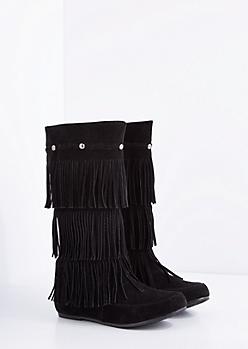 Black Fringe Moccasin Boot