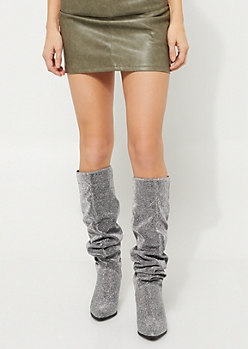 Silver Glitter Scrunched Boots