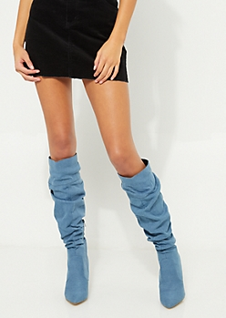 Scrunched Denim Stiletto Boots