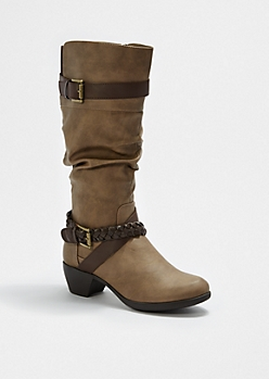 Taupe Braided Buckle Scrunched Boot