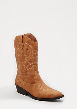 Cognac Western Stitched Cowboy Boot