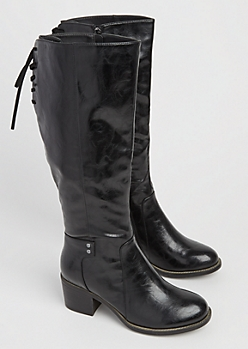 Black Lace Up Glossy Knee Boot