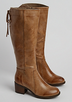 Taupe Lace Up Glossy Knee Boot