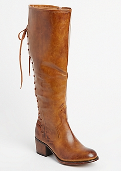 Camel Lace-Up Glossy Knee Boot