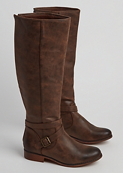 Cognac Distressed Faux Leather Knee Boot