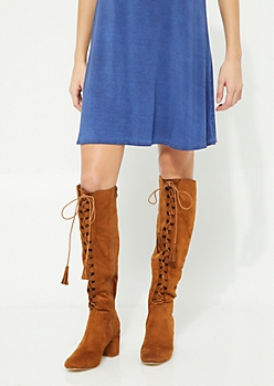 Tan Suede Lace Up Knee Boot By Hot Kiss