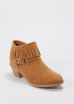 Light Brown Western Fringed Bootie