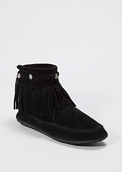 Black Fringed Suede Moccasin Bootie