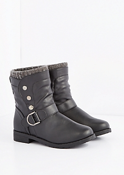 Black Marled Sweater Cuff Snap Moto Boot