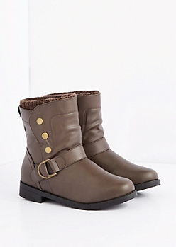Brown Marled Sweater Cuff Snap Moto Boot