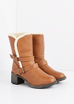 Buckled Faux Sherpa Heeled Boot