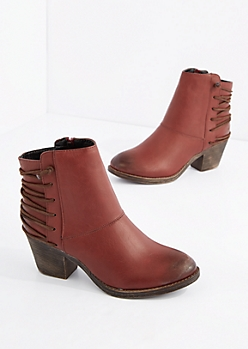 Red Laced Back Bootie